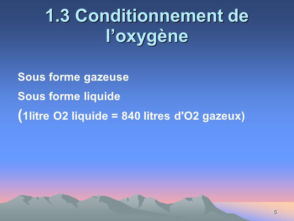 5 1.3 Conditionnement de loxygène Sous forme gazeuse Sous forme liquide ( 1litre O2 liquide = 840 litres d O2 gazeux)