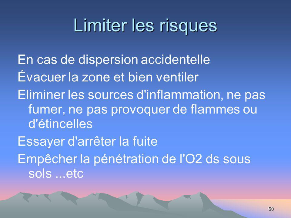 50 Limiter les risques En cas de dispersion accidentelle Évacuer la zone et bien ventiler Eliminer les sources d'inflammation, ne pas fumer, ne pas pr