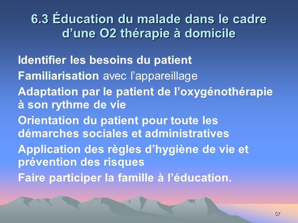 57 6.3 Éducation du malade dans le cadre dune O2 thérapie à domicile Identifier les besoins du patient Familiarisation avec lappareillage Adaptation p