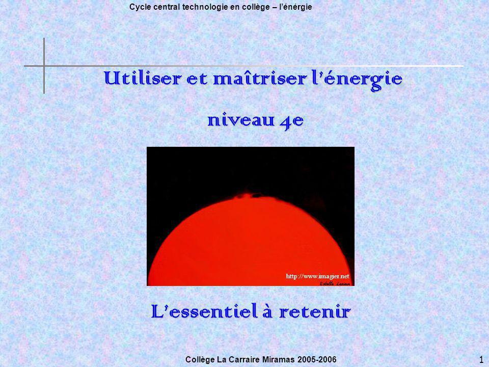 1 Cycle central technologie en collège – lénérgie Collège Sylvain Menu, Marseille le 3 mai 2005.