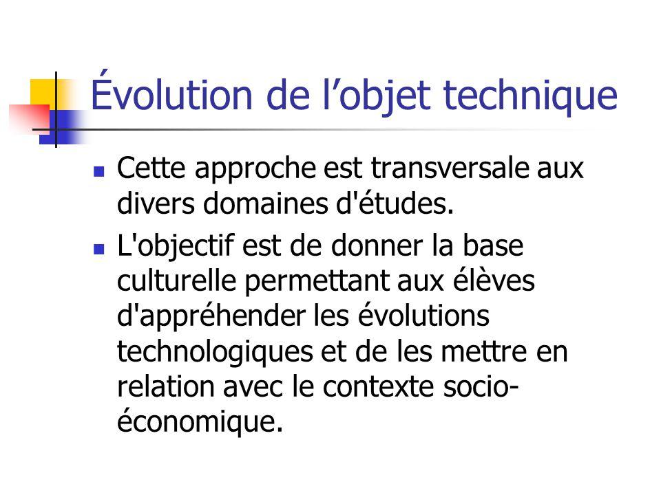 Évolution de lobjet technique Cette approche est transversale aux divers domaines d études.