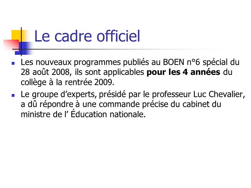 Le cadre officiel Les nouveaux programmes publiés au BOEN n°6 spécial du 28 août 2008, ils sont applicables pour les 4 années du collège à la rentrée 2009.
