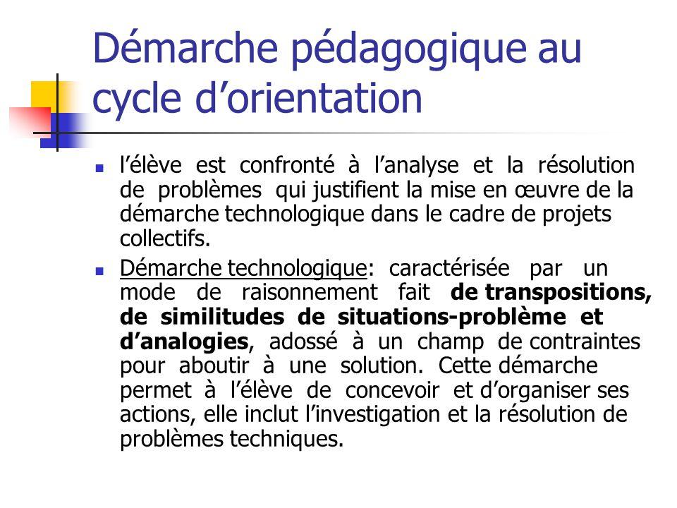 Démarche pédagogique au cycle dorientation lélève est confronté à lanalyse et la résolution de problèmes qui justifient la mise en œuvre de la démarche technologique dans le cadre de projets collectifs.