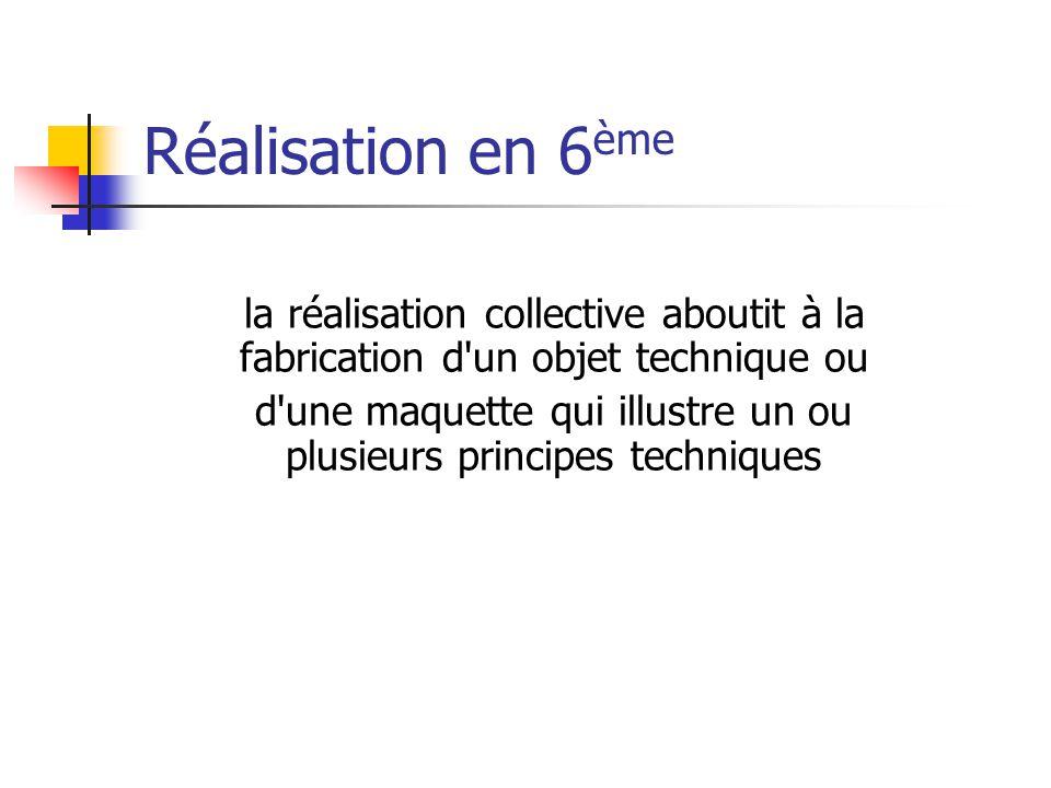 Réalisation en 6 ème la réalisation collective aboutit à la fabrication d un objet technique ou d une maquette qui illustre un ou plusieurs principes techniques