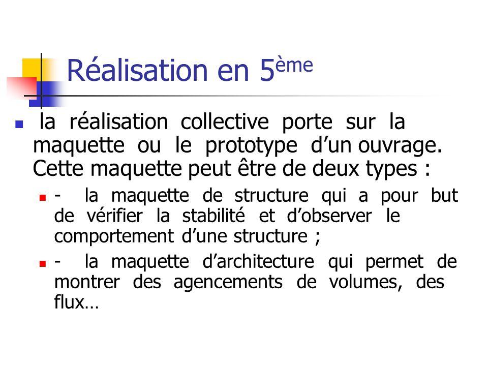 Réalisation en 5 ème la réalisation collective porte sur la maquette ou le prototype dun ouvrage.