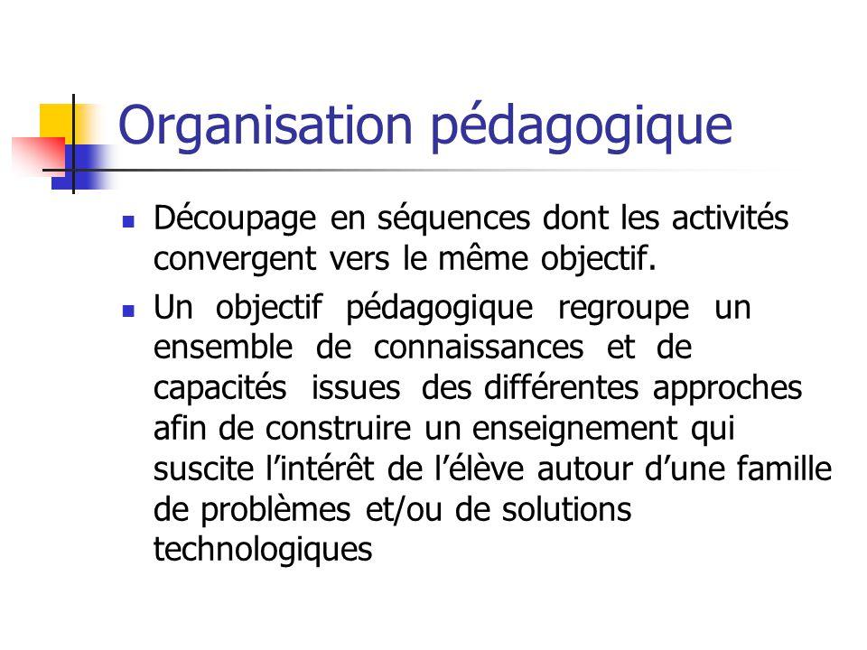 Organisation pédagogique Découpage en séquences dont les activités convergent vers le même objectif.