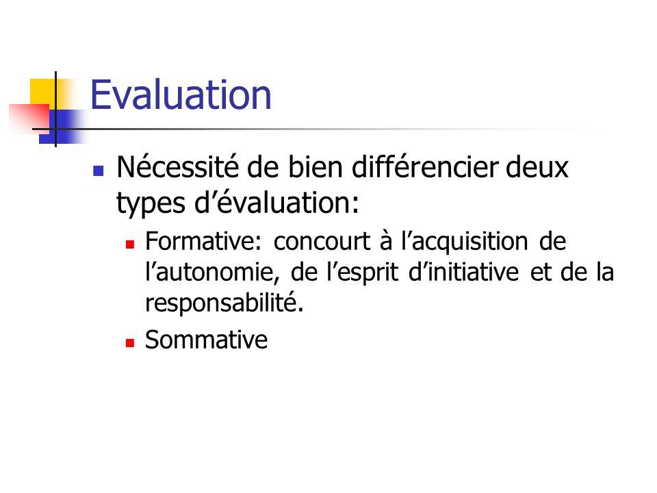 Evaluation Nécessité de bien différencier deux types dévaluation: Formative: concourt à lacquisition de lautonomie, de lesprit dinitiative et de la responsabilité.