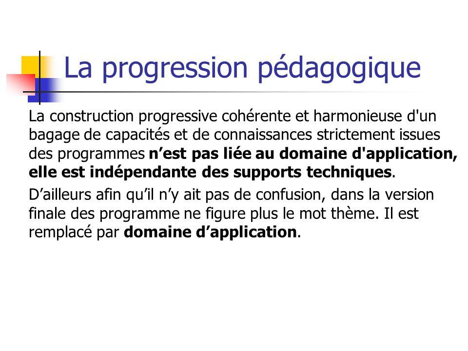 La progression pédagogique La construction progressive cohérente et harmonieuse d un bagage de capacités et de connaissances strictement issues des programmes nest pas liée au domaine d application, elle est indépendante des supports techniques.