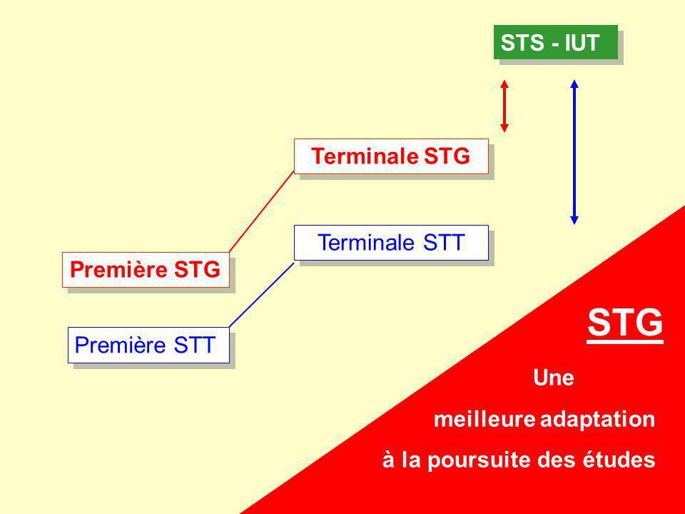STS - IUT Première STT Terminale STT Première STG Terminale STG Une meilleure adaptation à la poursuite des études STG
