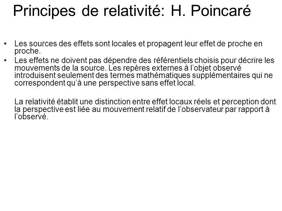 Les sources des effets sont locales et propagent leur effet de proche en proche.