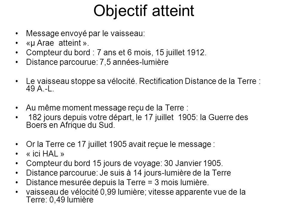 Objectif atteint Message envoyé par le vaisseau: «μ Arae atteint ».