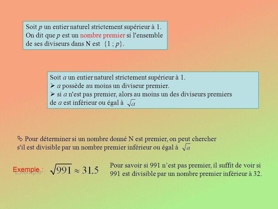 Soit p un entier naturel strictement supérieur à 1. On dit que p est un nombre premier si l'ensemble de ses diviseurs dans est {1 ; p}. Soit a un enti