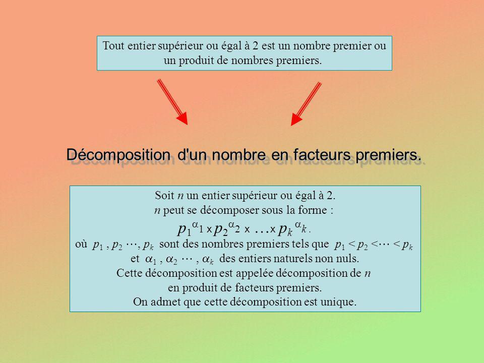 Tout entier supérieur ou égal à 2 est un nombre premier ou un produit de nombres premiers. Décomposition d'un nombre en facteurs premiers. Décompositi