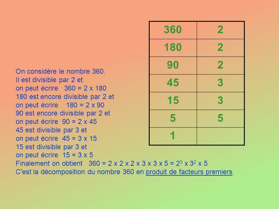 On considère le nombre 360. Il est divisible par 2 et on peut écrire 360 = 2 x 180 180 est encore divisible par 2 et on peut écrire 180 = 2 x 90 90 es