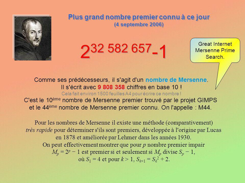 2 32 582 657 -1 Plus grand nombre premier connu à ce jour (4 septembre 2006) Plus grand nombre premier connu à ce jour (4 septembre 2006) Comme ses pr