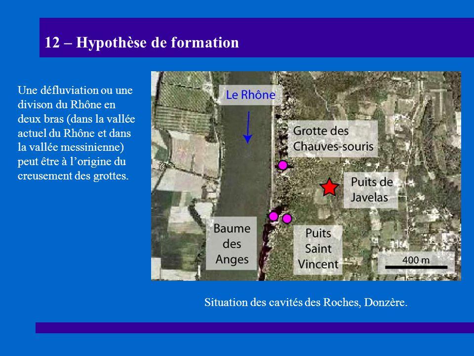12 – Hypothèse de formation Situation des cavités des Roches, Donzère. Une défluviation ou une divison du Rhône en deux bras (dans la vallée actuel du