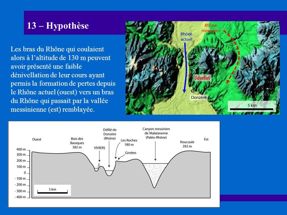 13 – Hypothèse Les bras du Rhône qui coulaient alors à laltitude de 130 m peuvent avoir présenté une faible dénivellation de leur cours ayant permis l