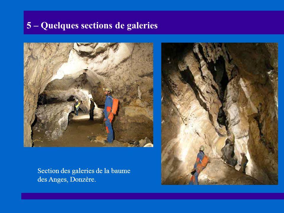 5 – Quelques sections de galeries Section des galeries de la baume des Anges, Donzère.