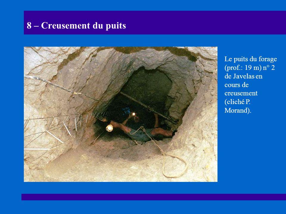 8 – Creusement du puits Le puits du forage (prof.: 19 m) n° 2 de Javelas en cours de creusement (cliché P. Morand).
