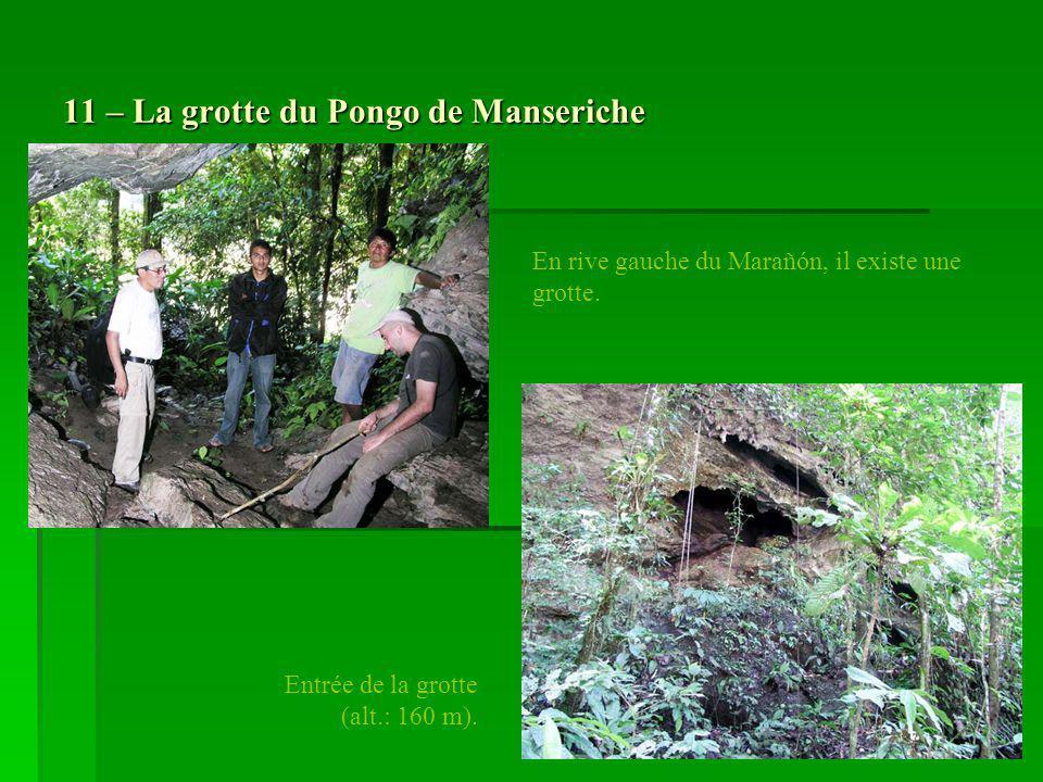 11 – La grotte du Pongo de Manseriche En rive gauche du Marañón, il existe une grotte. Entrée de la grotte (alt.: 160 m).