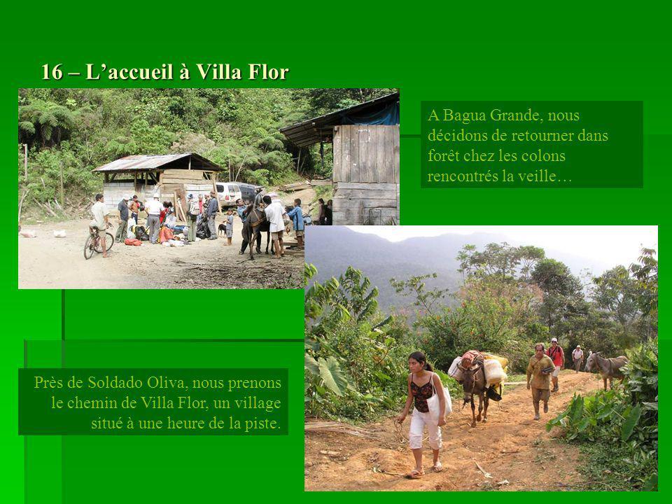 16 – Laccueil à Villa Flor Près de Soldado Oliva, nous prenons le chemin de Villa Flor, un village situé à une heure de la piste. A Bagua Grande, nous