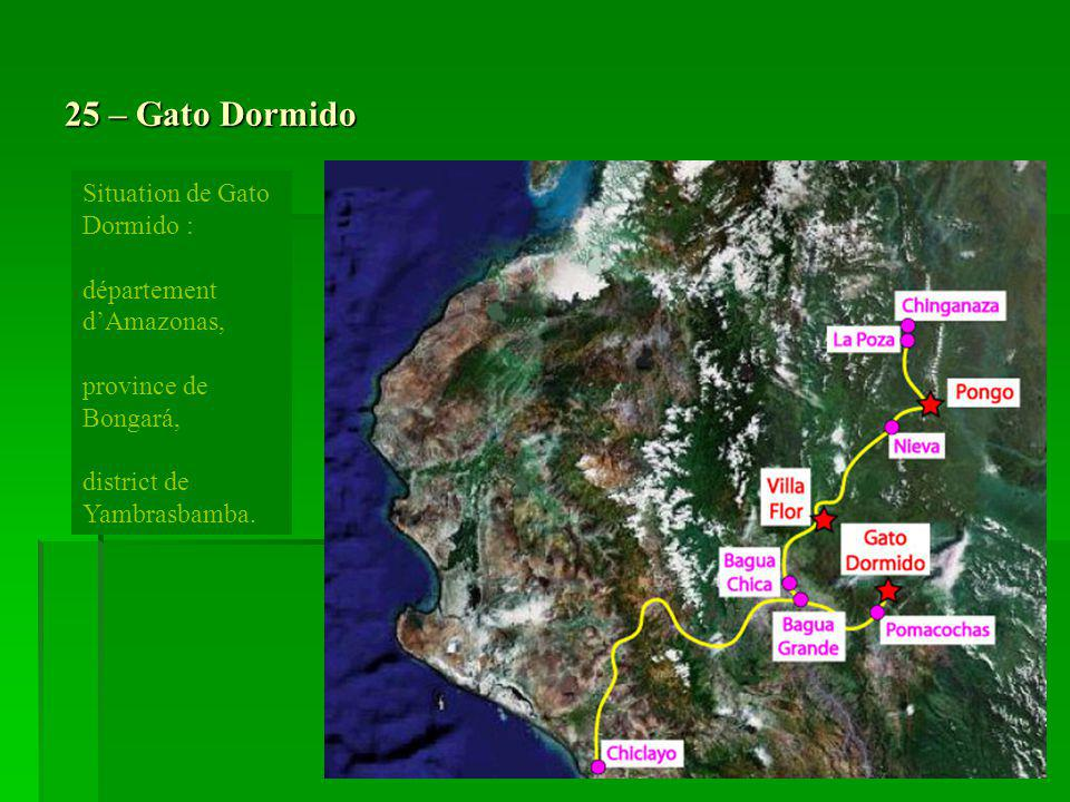 25 – Gato Dormido Situation de Gato Dormido : département dAmazonas, province de Bongará, district de Yambrasbamba.