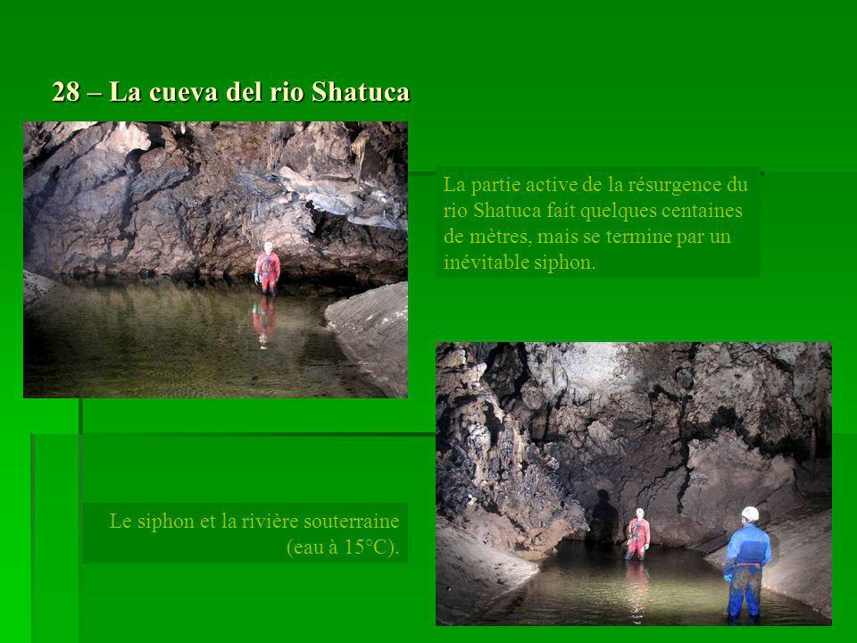 28 – La cueva del rio Shatuca La partie active de la résurgence du rio Shatuca fait quelques centaines de mètres, mais se termine par un inévitable si