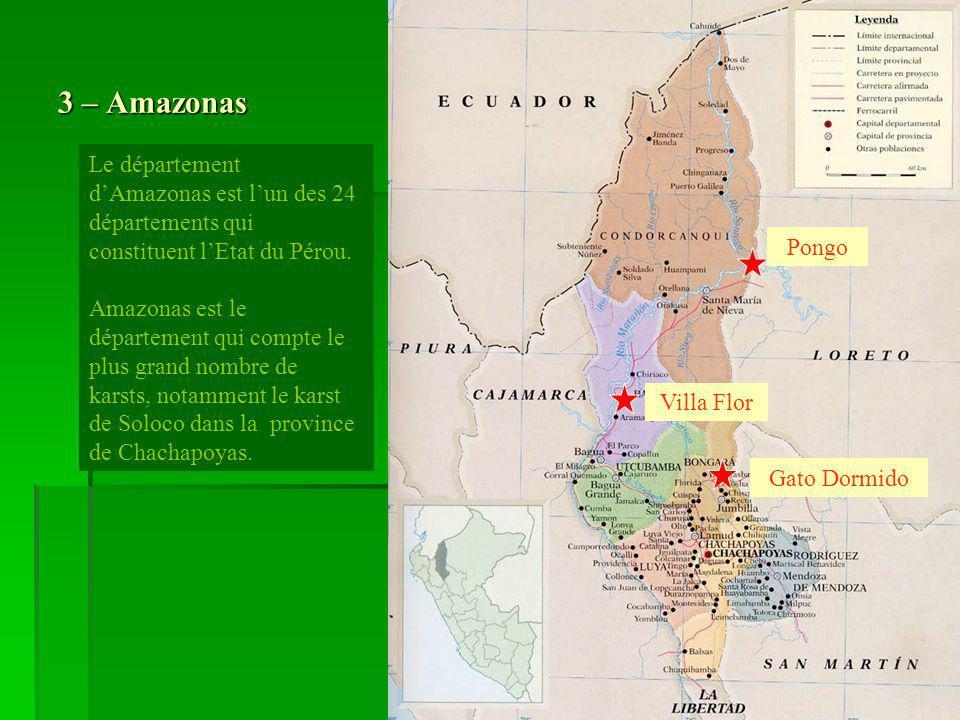 3 – Amazonas Le département dAmazonas est lun des 24 départements qui constituent lEtat du Pérou. Amazonas est le département qui compte le plus grand
