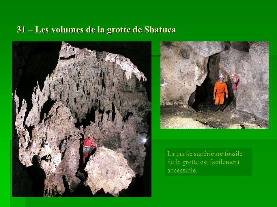 31 – Les volumes de la grotte de Shatuca La partie supérieure fossile de la grotte est facilement accessible.