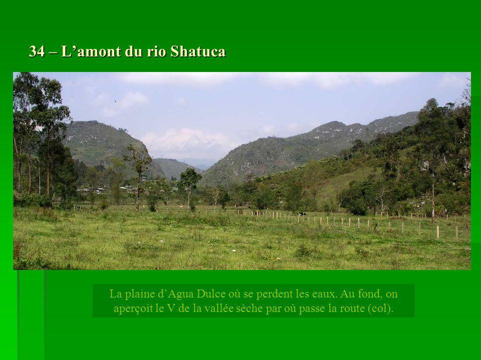 34 – Lamont du rio Shatuca La plaine dAgua Dulce où se perdent les eaux. Au fond, on aperçoit le V de la vallée sèche par où passe la route (col).