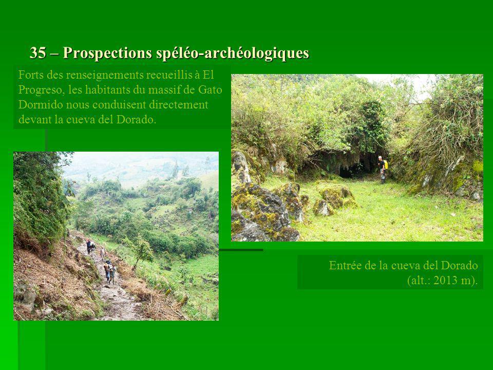 35 – Prospections spéléo-archéologiques Forts des renseignements recueillis à El Progreso, les habitants du massif de Gato Dormido nous conduisent dir