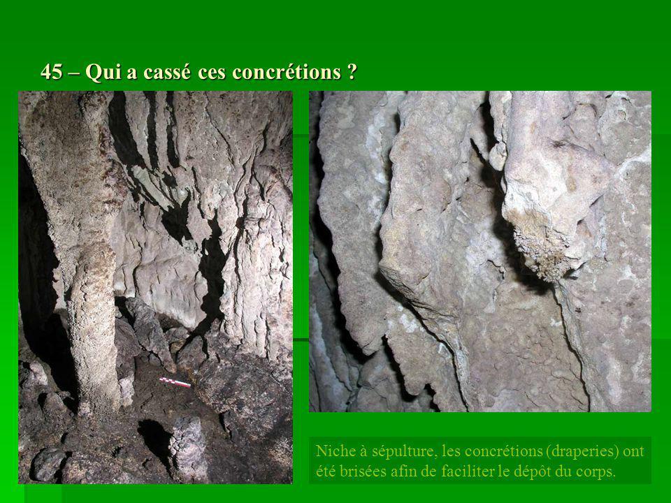 45 – Qui a cassé ces concrétions ? Niche à sépulture, les concrétions (draperies) ont été brisées afin de faciliter le dépôt du corps.