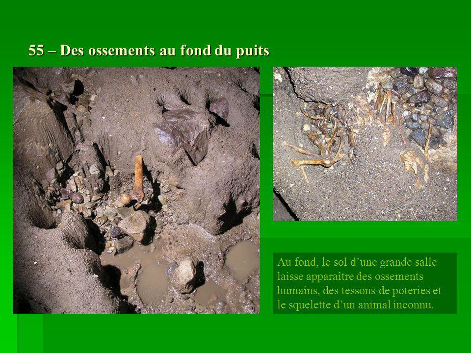 55 – Des ossements au fond du puits Au fond, le sol dune grande salle laisse apparaître des ossements humains, des tessons de poteries et le squelette