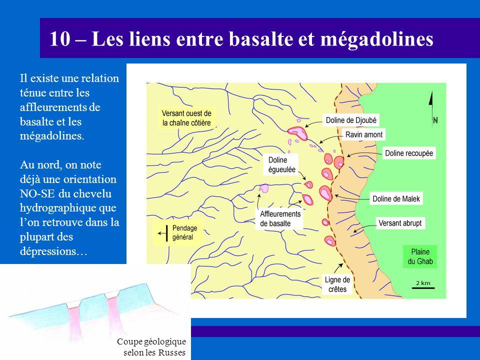 10 – Les liens entre basalte et mégadolines Il existe une relation ténue entre les affleurements de basalte et les mégadolines. Au nord, on note déjà