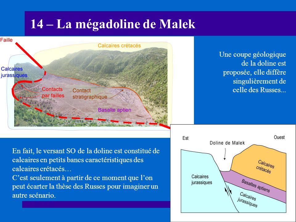 14 – La mégadoline de Malek En fait, le versant SO de la doline est constitué de calcaires en petits bancs caractéristiques des calcaires crétacés… Ce