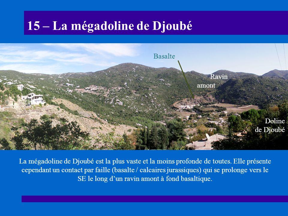 15 – La mégadoline de Djoubé La mégadoline de Djoubé est la plus vaste et la moins profonde de toutes. Elle présente cependant un contact par faille (