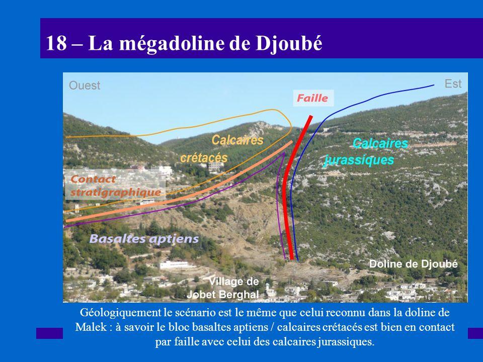 18 – La mégadoline de Djoubé Géologiquement le scénario est le même que celui reconnu dans la doline de Malek : à savoir le bloc basaltes aptiens / ca