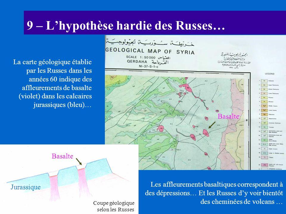 9 – Lhypothèse hardie des Russes… La carte géologique établie par les Russes dans les années 60 indique des affleurements de basalte (violet) dans les
