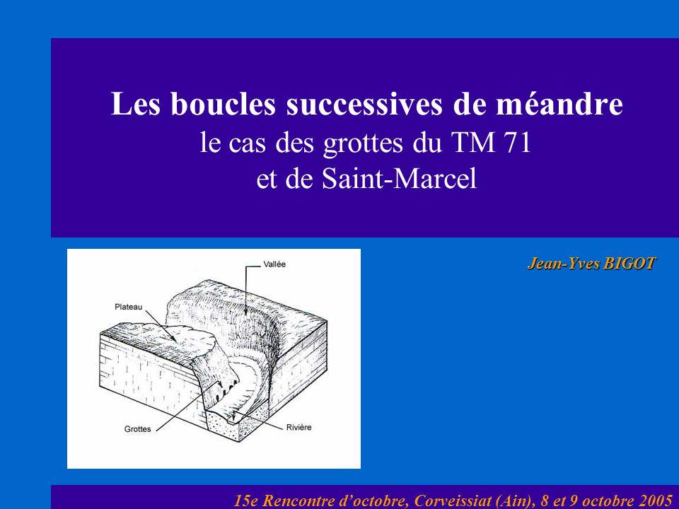 Les boucles successives de méandre le cas des grottes du TM 71 et de Saint-Marcel Jean-Yves BIGOT 15e Rencontre doctobre, Corveissiat (Ain), 8 et 9 oc