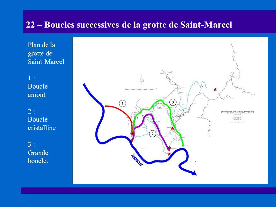 22 – Boucles successives de la grotte de Saint-Marcel Plan de la grotte de Saint-Marcel 1 : Boucle amont 2 : Boucle cristalline 3 : Grande boucle.