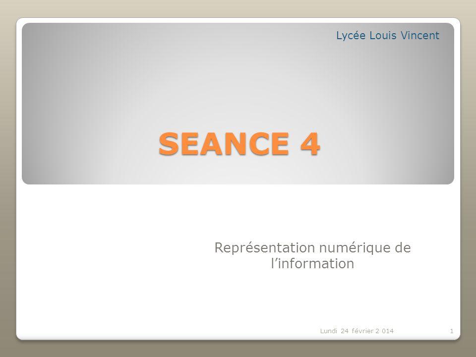 Contenu de la séance 3: 2 Lundi 24 février 2014 Représentation binaire: Codage dimages (couleurs).