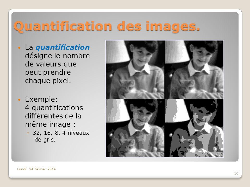 Quantification des images. La quantification désigne le nombre de valeurs que peut prendre chaque pixel. Exemple: 4 quantifications différentes de la