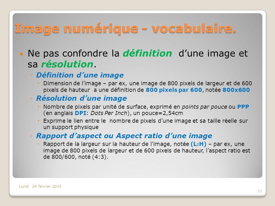 Image numérique - vocabulaire. Ne pas confondre la définition dune image et sa résolution. Définition dune image Dimension de limage – par ex, une ima