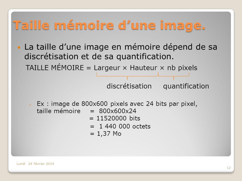 Taille mémoire dune image. La taille dune image en mémoire dépend de sa discrétisation et de sa quantification. TAILLE MÉMOIRE = Largeur × Hauteur × n