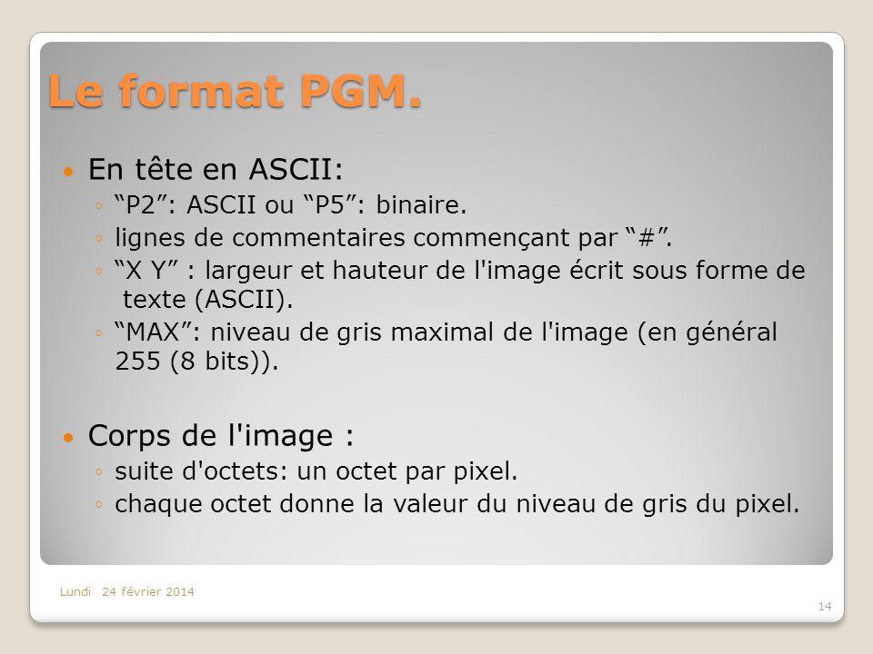 Le format PGM. En tête en ASCII: P2: ASCII ou P5: binaire. lignes de commentaires commençant par #. X Y : largeur et hauteur de l'image écrit sous for