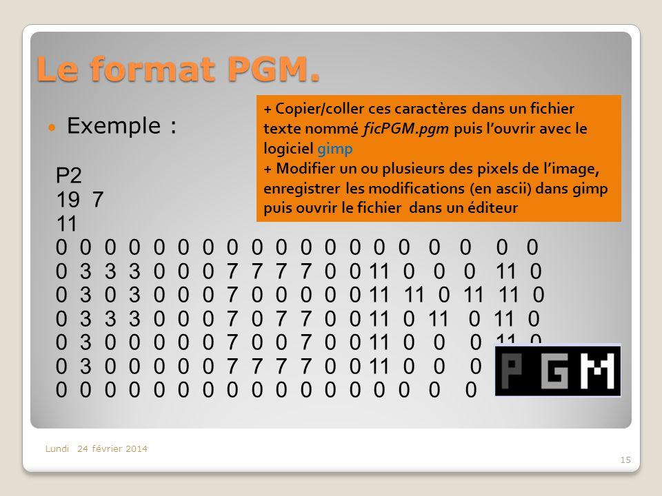 Le format PGM. Exemple : P2 19 7 11 0 0 0 0 0 0 0 0 0 0 0 0 0 0 0 0 0 0 0 0 3 3 3 0 0 0 7 7 7 7 0 0 11 0 0 0 11 0 0 3 0 3 0 0 0 7 0 0 0 0 0 11 11 0 11