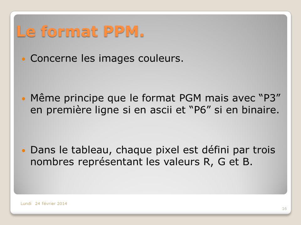 Le format PPM. Concerne les images couleurs. Même principe que le format PGM mais avec P3 en première ligne si en ascii et P6 si en binaire. Dans le t