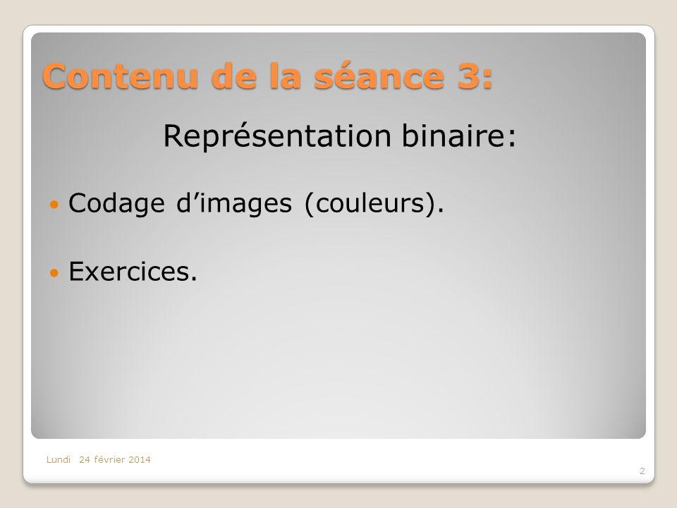 Contenu de la séance 3: 2 Lundi 24 février 2014 Représentation binaire: Codage dimages (couleurs). Exercices.