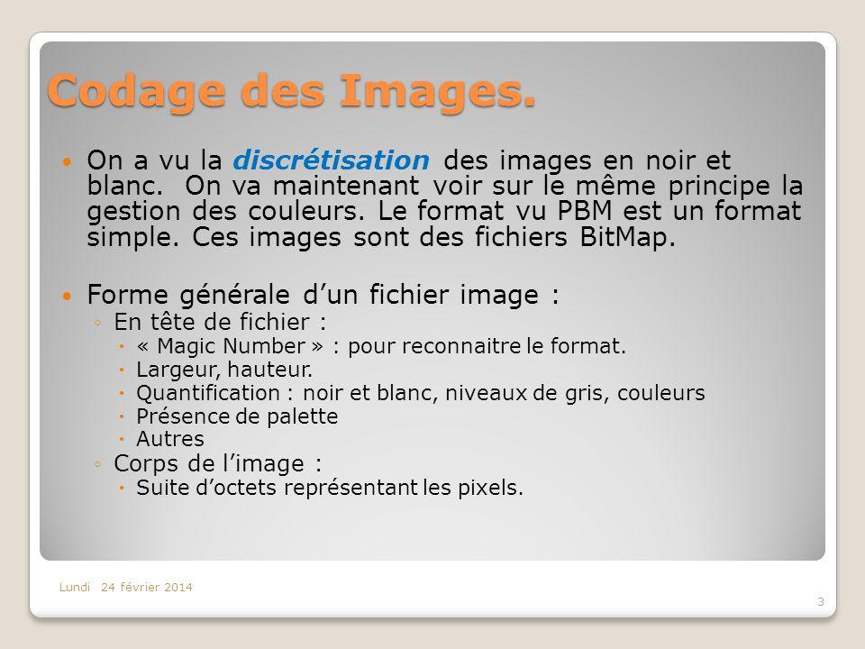 Codage des Images. On a vu la discrétisation des images en noir et blanc. On va maintenant voir sur le même principe la gestion des couleurs. Le forma