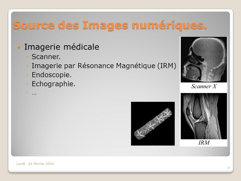 Source des Images numériques. Imagerie médicale Scanner. Imagerie par Résonance Magnétique (IRM) Endoscopie. Echographie. … Lundi 24 février 2014 6